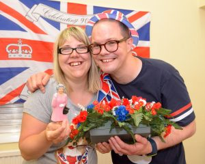 WOLVERHAMPTON DAVE FINCHETT 16/06/2016  Celebrating the Queen's 90th Birthday at the Gateway Club, Beckminster Church Hall, are Abbey Burgess (26) and boyfriend Andrew Beardsmore (28).